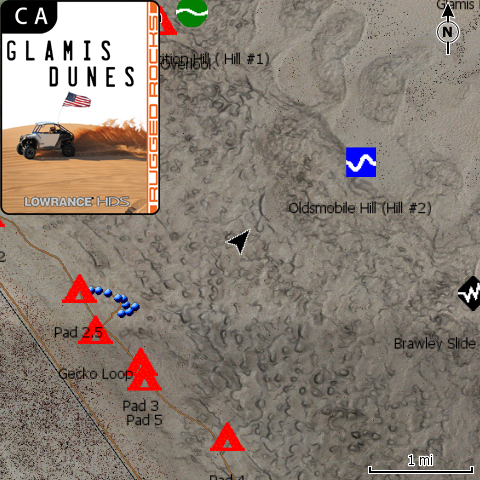 Glamis Dunes, CA Off Road GPS Map Card for Lowrance HDS